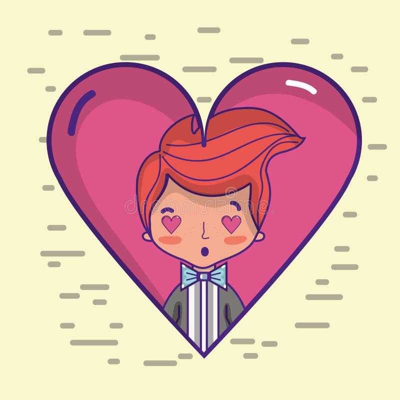 Любовник Groom с дизайном костюма и стиля причёсок иллюстрация вектора