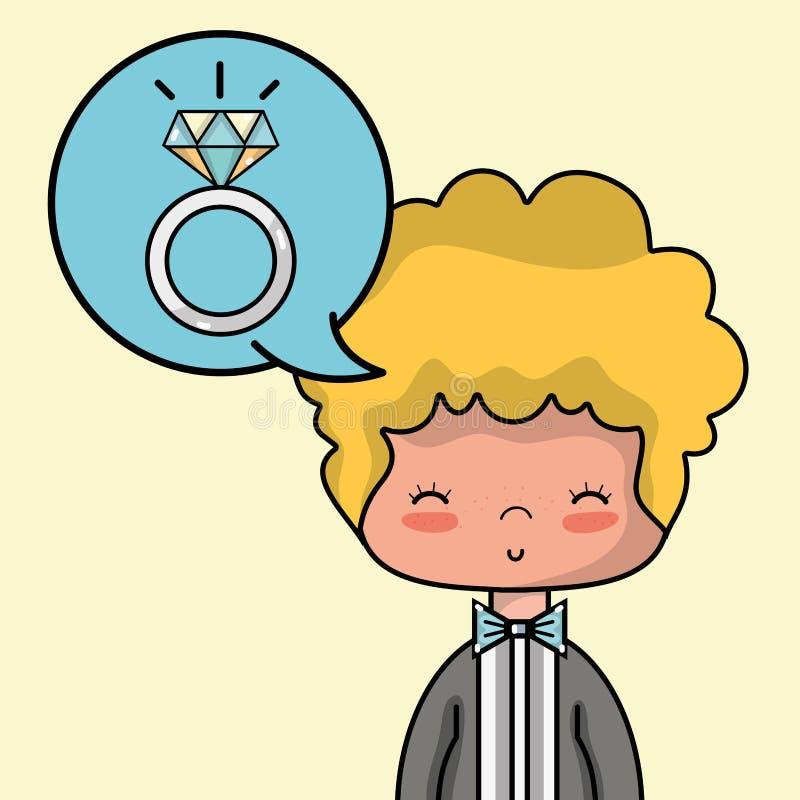 Любовник Groom с дизайном костюма и стиля причёсок иллюстрация штока