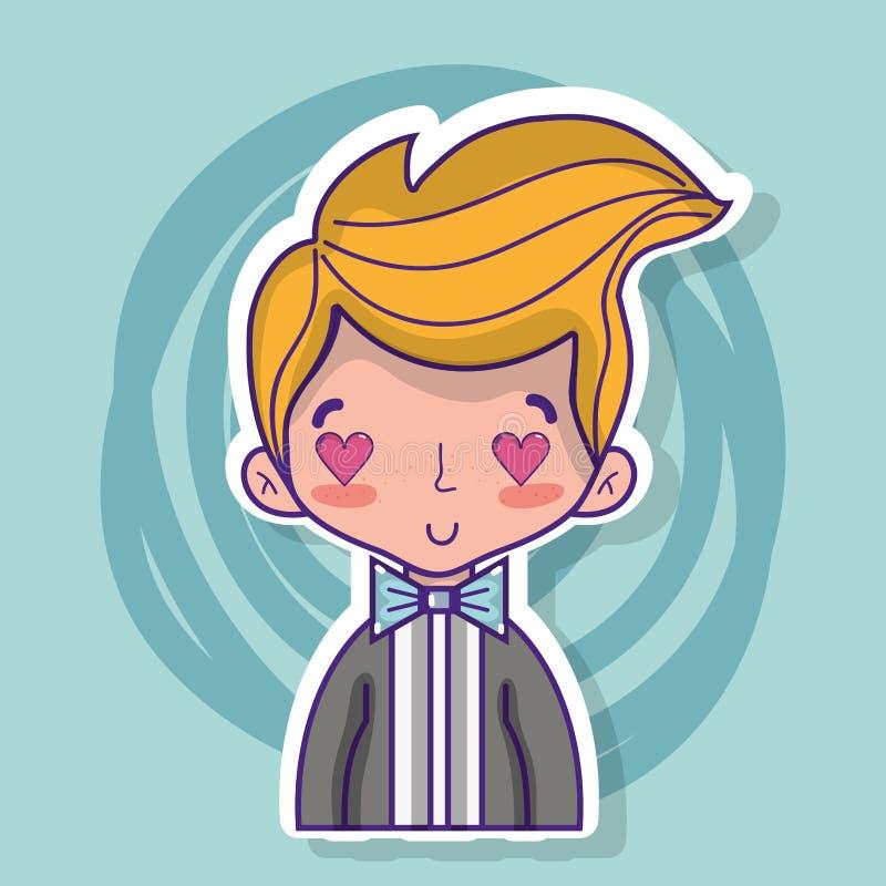 Любовник Groom с дизайном костюма и стиля причёсок бесплатная иллюстрация