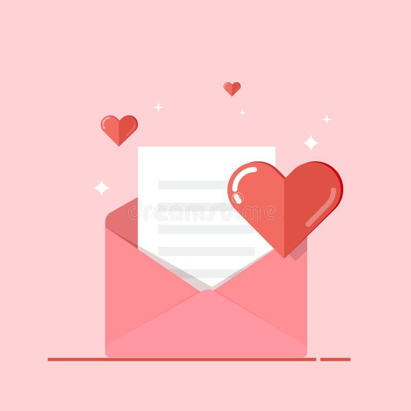 Любовное письмо, поздравительная открытка, приглашение изолированное на розовой предпосылке День валентинки s Вектор, плоская илл иллюстрация вектора