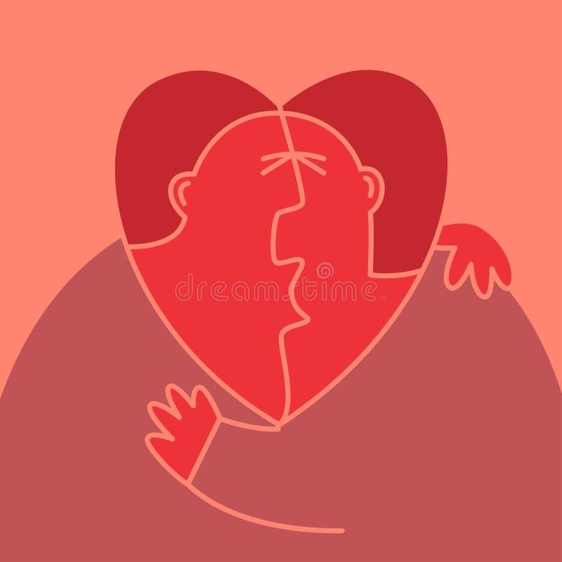 Любовный треугольник иллюстрация штока