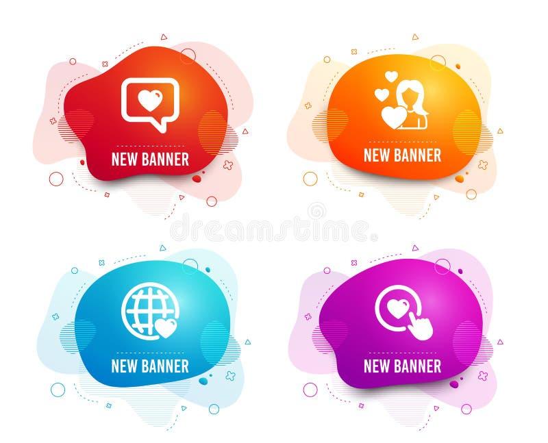 Любовь, международная любовь и как значки кнопки Датировка интернета, датируя обслуживание r иллюстрация вектора