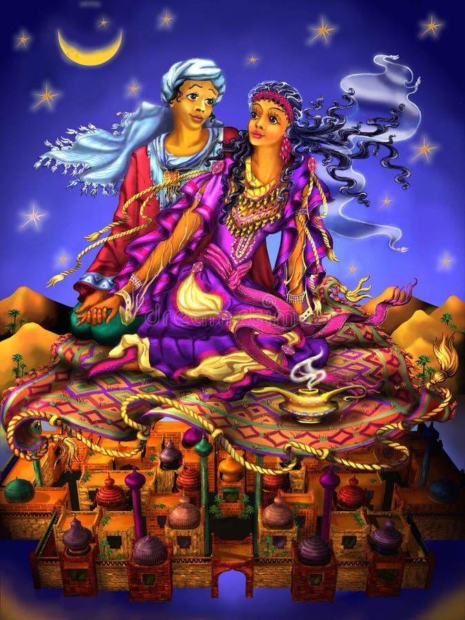Любовь романско Пара Сказ Aladdin Аравийский сказ Ночи тысяча и одно иллюстрация вектора
