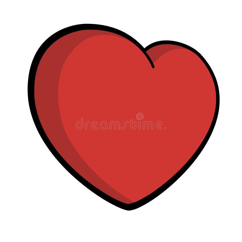 Любовь символа значка сердца большая красная черная конспектировала вектор дня затеняемого Валентайн иллюстрация вектора