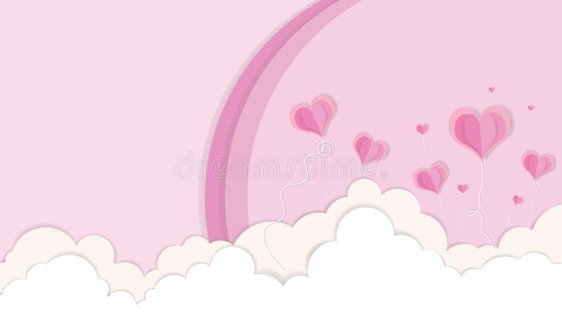 ЛЮБОВЬ - Цвет пинка дня Валентайн режа бумажное искусство сердца и концепции облаков и радуг иллюстрация штока