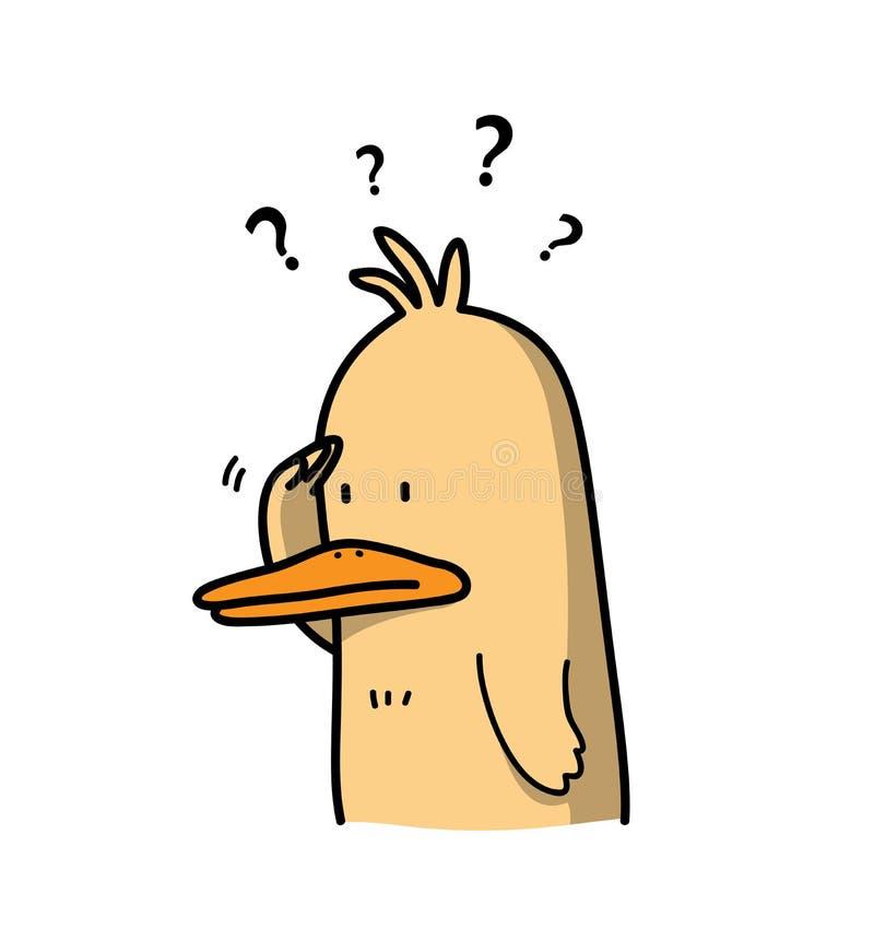 Любознательный шарж утки думая о что-то бесплатная иллюстрация
