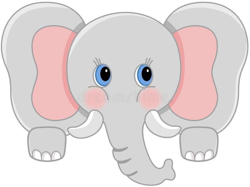 Любознательный peeking слона младенца иллюстрация вектора