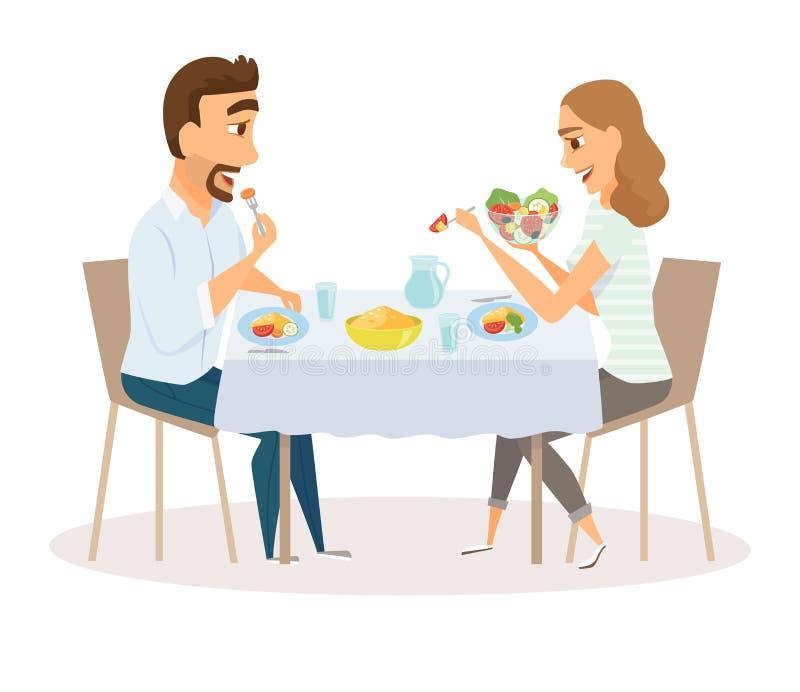 Любящая еда пар иллюстрация вектора