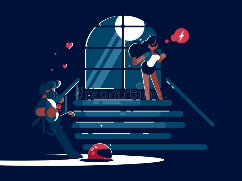 Любящие парень и девушка иллюстрация штока