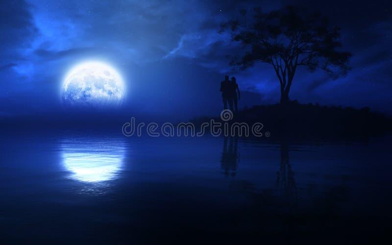 Любящие пары на былинной ноче фантазии бесплатная иллюстрация