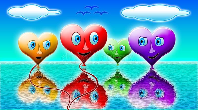 Любящие шарики сердца иллюстрация штока