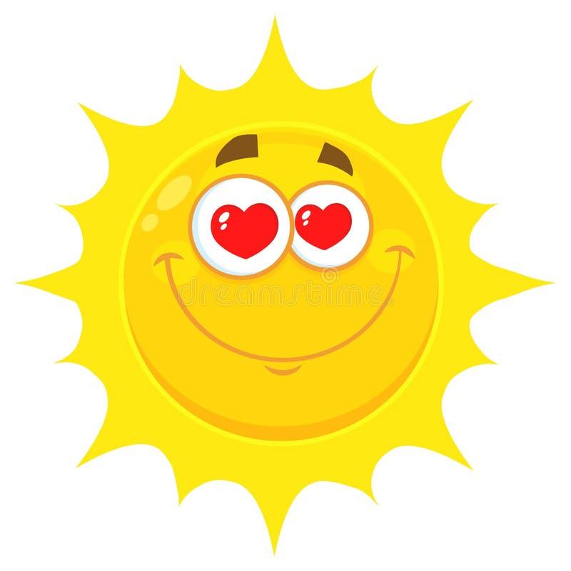 Любящий желтый шарж Emoji Солнця смотрит на характер с глазами сердец иллюстрация вектора