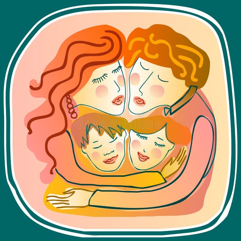 Любящий обнимать семьи бесплатная иллюстрация