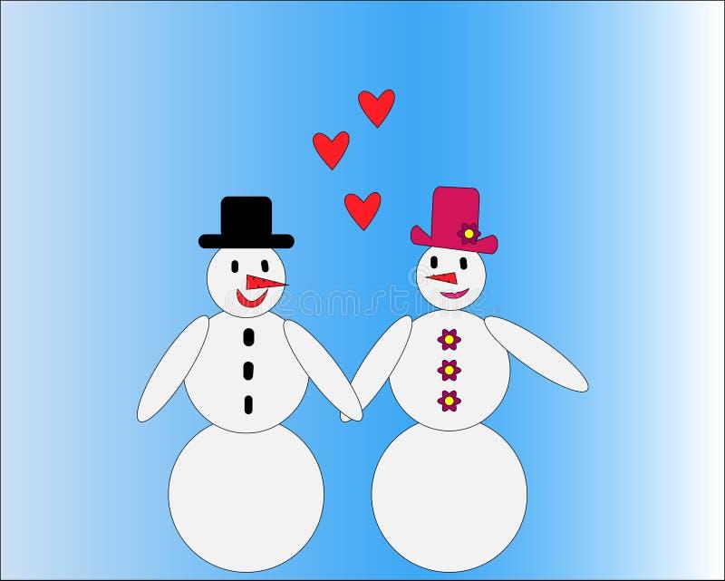 Любя пары снеговика с сердцами иллюстрация штока