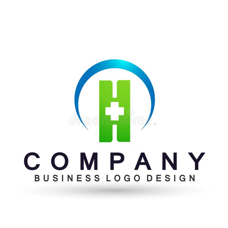 Людей креста заботы h письма здоровья глобуса значок дизайна логотипа заботы о жизни медицинских здоровый на белой предпосылке бесплатная иллюстрация