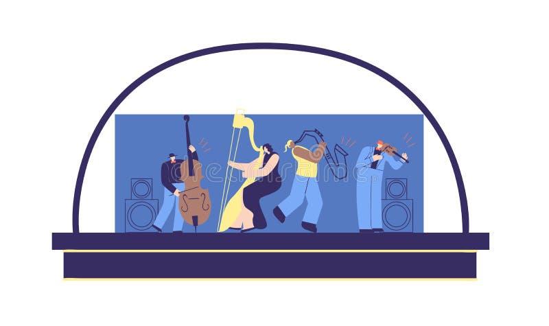 Людей музыки сцены концерта мультфильм классических плоский иллюстрация вектора