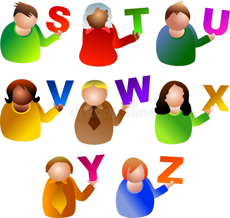 люди алфавита иллюстрация штока
