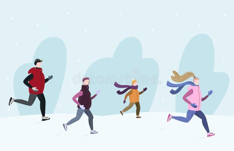 Люди бежать совместно снаружи в сезоне зимы холодном Handdrawn иллюстрация вектора бесплатная иллюстрация