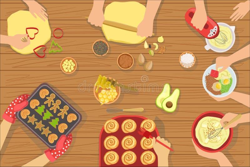 Люди варя печенье и другой взгляд еды совместно сверху иллюстрация штока