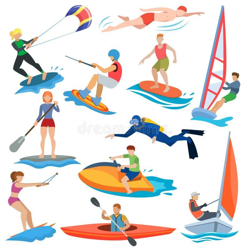 Люди вектора водных видов спорта в весьма деятельности или комплекте иллюстрации windsurfer и kitesurfer характеров спортсмена иллюстрация вектора