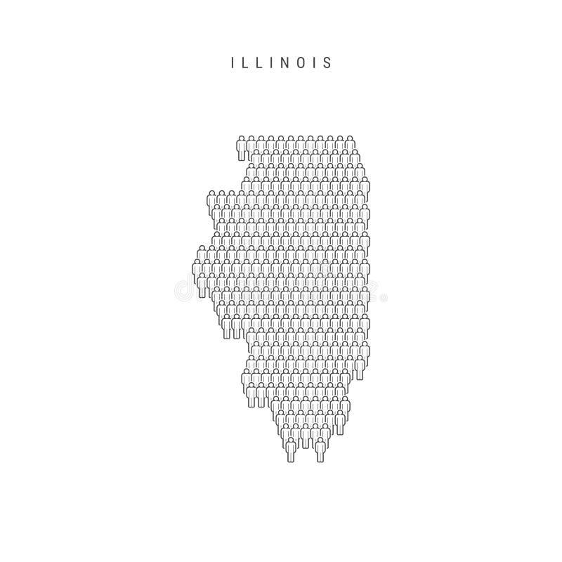 Люди вектора составляют карту Иллинойса, штата США Стилизованный силуэт, люди толпится Население Иллинойса иллюстрация штока