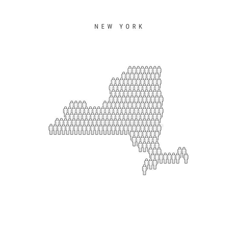 Люди вектора составляют карту Нью-Йорка, штата США Стилизованный силуэт, люди толпится Население Нью-Йорка иллюстрация штока