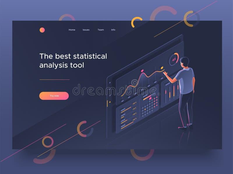 Люди взаимодействуя с приборной панелью Анализ данных, собрание статистик Шаблон страницы посадки также вектор иллюстрации притяж иллюстрация штока