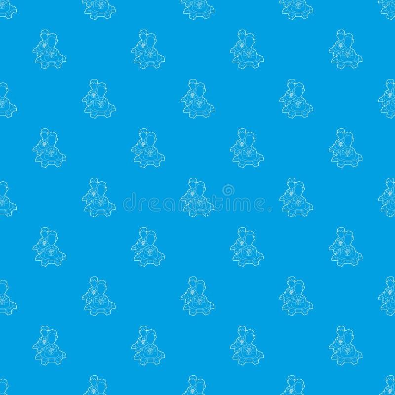 Люди внутри картины колеса шестерни vector безшовная синь иллюстрация штока