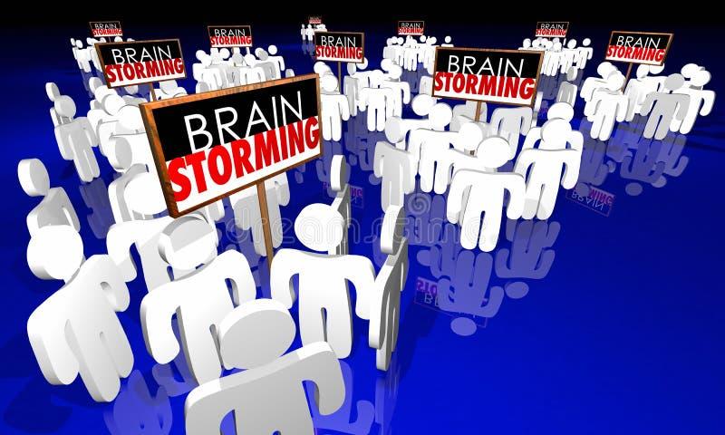 Люди встречи метода мозгового штурма подписывают творческие способности 3d Illustrat идей иллюстрация штока
