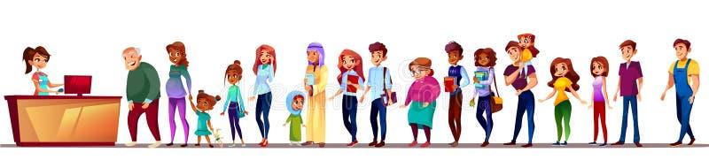 Люди в иллюстрации вектора очереди супермаркета бесплатная иллюстрация
