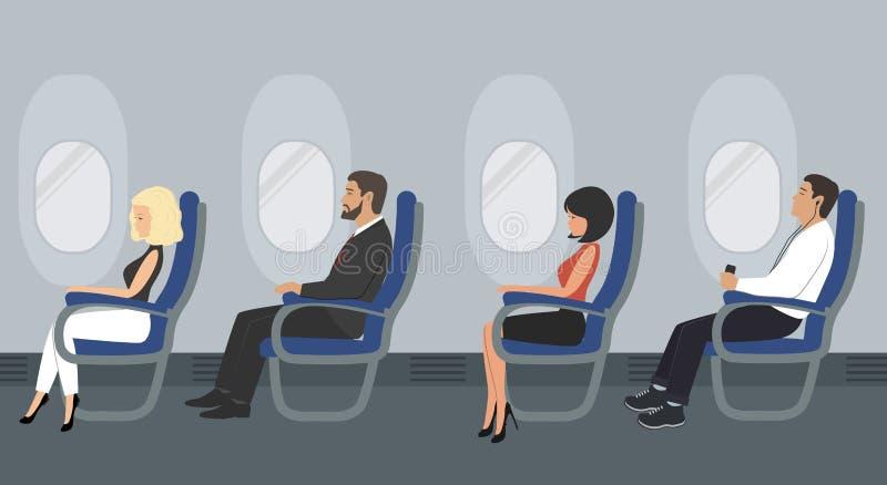Люди в кабине воздушных судн Пассажиры авиакомпании сидят в голубых стульях иллюстрация штока