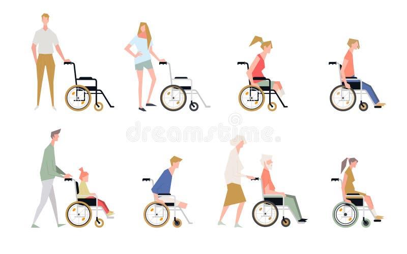 Люди в кресло-коляске Неработающий и с ограниченными возможностями бесплатная иллюстрация