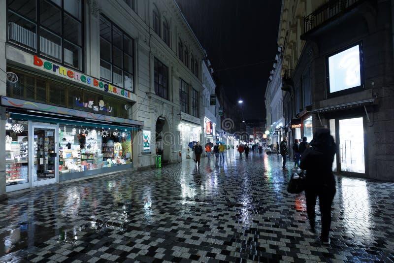 Люди в ноче Копенгагене, Дании стоковое фото