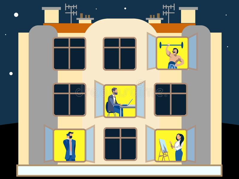 Люди в окнах жилого дома работы по дома делая домоец В минималистичном стиле Плоский равновеликий вектор иллюстрация штока