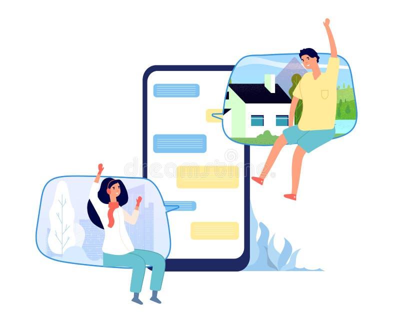 Люди в онлайн болтовне Сочинительство пар женщины человека беседуя на экране телефона Сообщение любов интернета виртуальное со см бесплатная иллюстрация