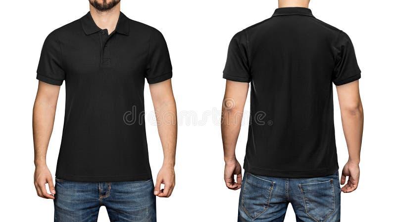 Люди в пустой черной рубашке поло, фронте и заднем взгляде, белой предпосылке Конструируйте рубашку, шаблон и модель-макет поло д стоковое изображение