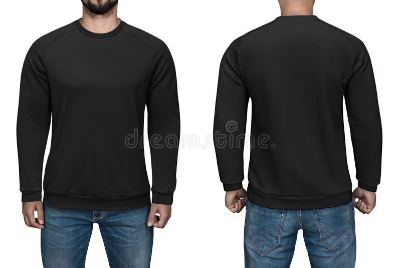 Люди в пустом черном пуловере, фронте и заднем взгляде, белой предпосылке Конструируйте фуфайку, шаблон и модель-макет для печати стоковая фотография rf