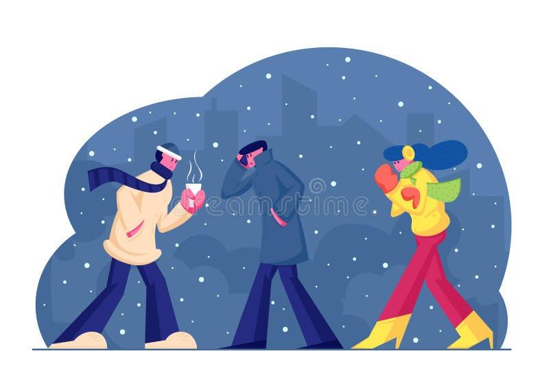 Люди в тёплой одежде ходят по улице в холодную погоду с снегом и ветром на фоне Cityscape, мужчина пьет горячий напиток бесплатная иллюстрация