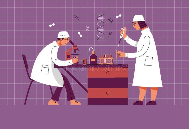 Люди в форме работают в лаборатории Химическая и биологическая лаборатория бесплатная иллюстрация