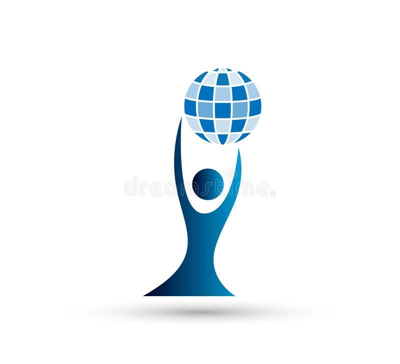 Люди глобуса заботят значок дизайна логотипа на белой предпосылке Ребенок, дело бесплатная иллюстрация