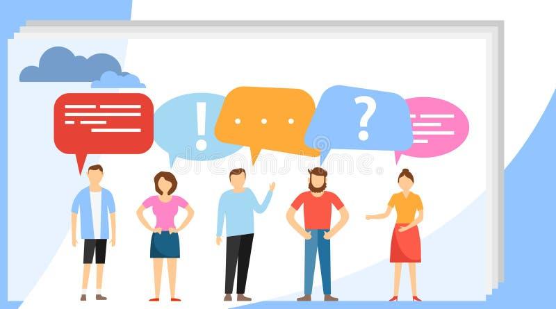 Люди говорят используя пузырь речи Социальная концепция сети средств массовой информации Группа в составе бизнесмены говорит и бе иллюстрация штока