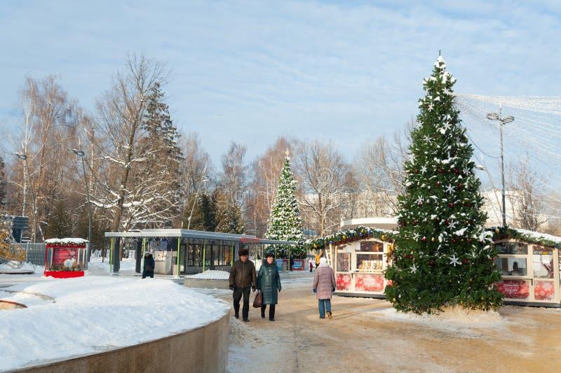 Люди гуляя в парке 09 Lianozovo 01 2019 стоковое изображение