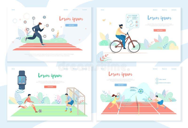 Люди делая деятельность при спорт с умными устройствами иллюстрация вектора