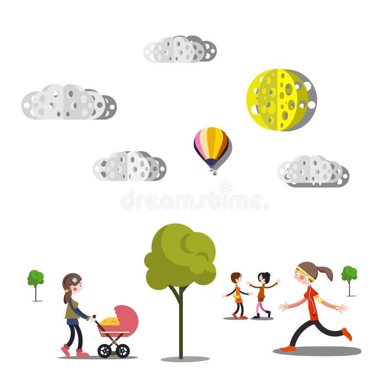 Люди, деревья и бумажные отрезанные облака бесплатная иллюстрация