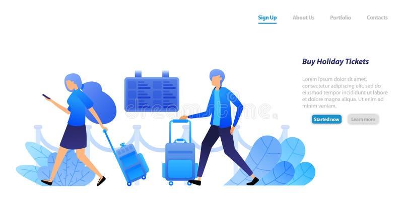 Люди держат чемоданы ждать и queuing для покупки билетов отклонения полетов для праздников и путешествий концепция иллюстрации ве бесплатная иллюстрация