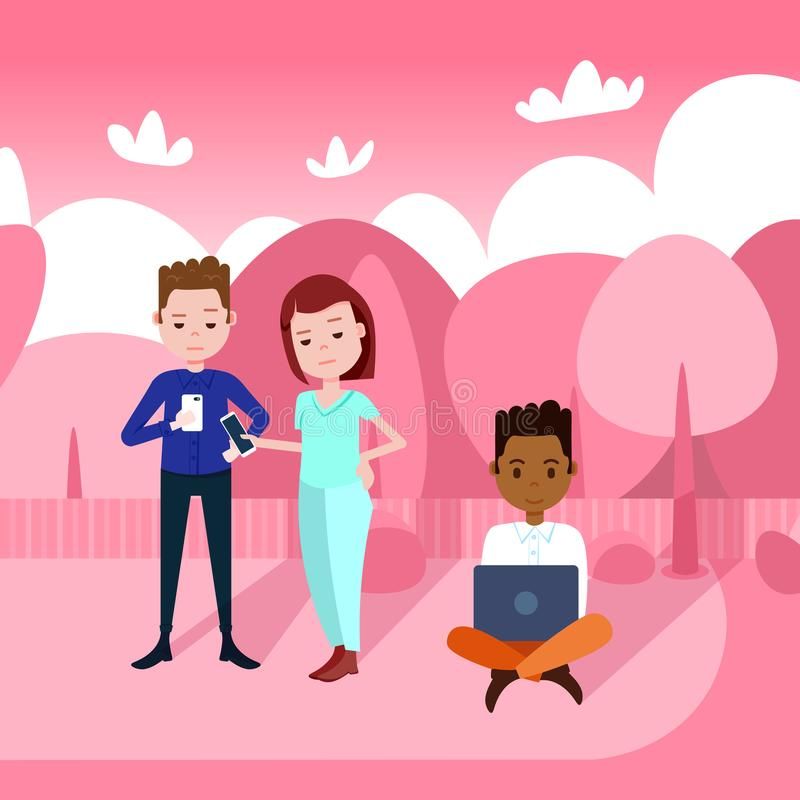 Люди держа smartphones компьтер-книжки работая outdoors над розовой женщиной человека гонки смешивания ландшафта парка плоско бесплатная иллюстрация