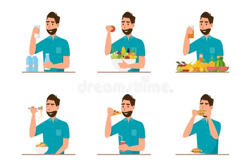 люди есть здоровые еду и фаст-фуд в различном характере бесплатная иллюстрация