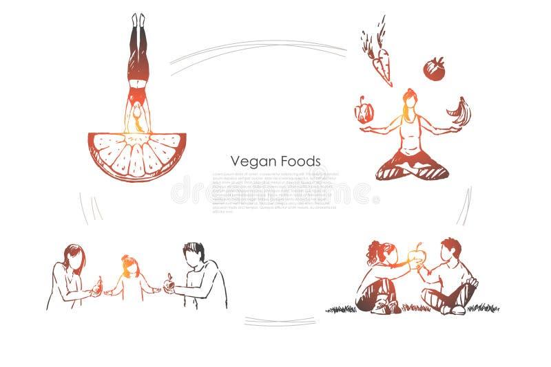 Люди есть натуральные продукты, фрукты и овощи, здоровый образ жизни, женщину сидя в знамени представления лотоса иллюстрация вектора