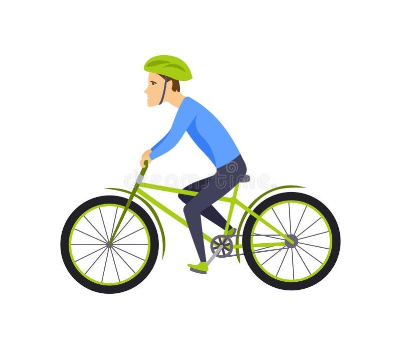 Люди ехать велосипед С велосипедом и мальчиком в sportswear Дизайн персонажа из мультфильма Плоская иллюстрация вектора изолирова иллюстрация вектора
