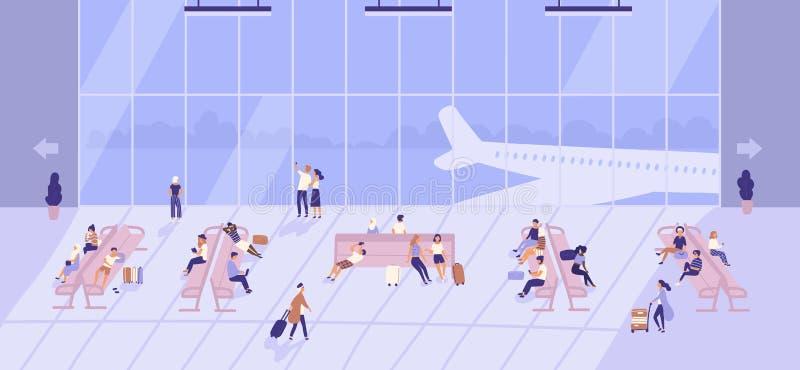 Люди ждать внутри здания авиапорта с большими панорамными окнами и самолетами снаружи Пассажиры сидя на стендах иллюстрация штока